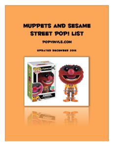 Muppets Sesame St December PDF Pop List - POPVINYLS COM